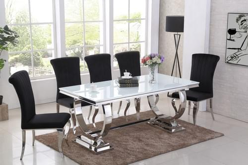 Stunning white glass dining table and 6 black velvet chairs