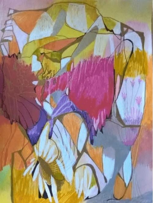 3 Notecards...Flower Garden Dreaming