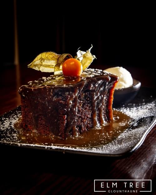 Slow Baked Sticky Toffee Pudding, Chocolate and Toffee Sauce with Fresh Dairy Cream