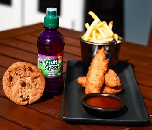Chicken Goujons Meal Deal with a Fruit Shoot and Homemade Chocolate Chip Cookie