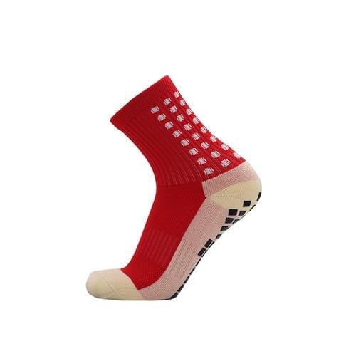 膠底 防滑足球襪 短筒 紅色