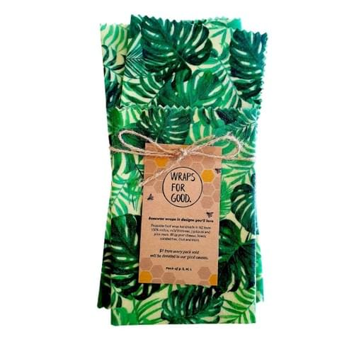 Beeswax Wraps 3pack - Monstera