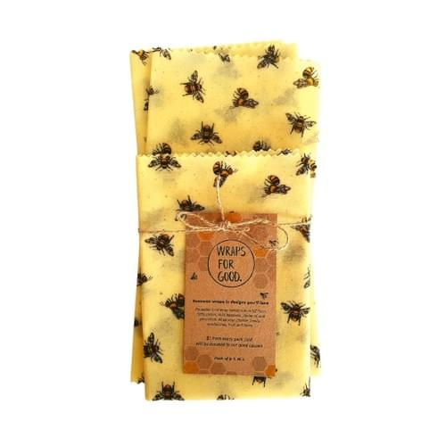 Beeswax Wraps 3pack - Flying Bees