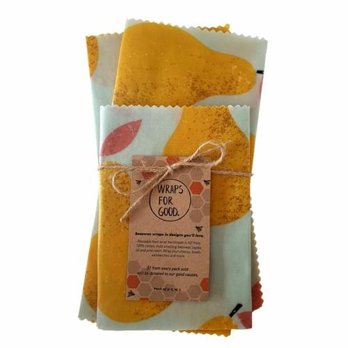 Beeswax Wraps 3pack - Golden Pears