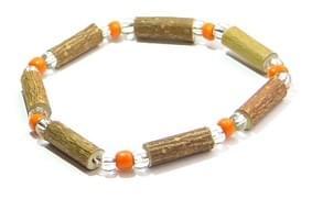 Bois de noisetier 6mm, perles oranges et transparentes