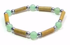 Bois de noisetier 4mm, aventurine verte, perles antracites