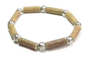 Bois de noisetier 6mm, perles argentées globe