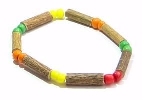 Bois de noisetier 4mm, perles multicolores enfant