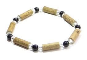 Bois de noisetier 6mm, perles noires et transparentes