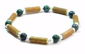 Bois de noisetier 6mm, azurite malachite, perles transparentes
