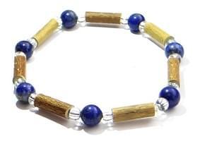 Bois de noisetier 4mm, lapis lazuli, perles transparentes