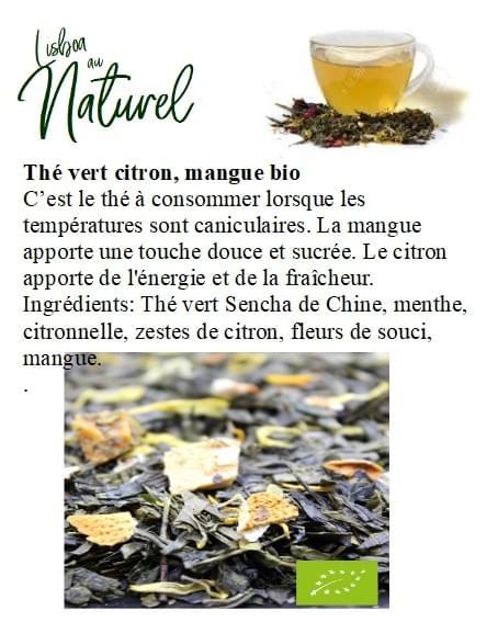 Thé vert citron, mangue bio (50gr - 100gr)