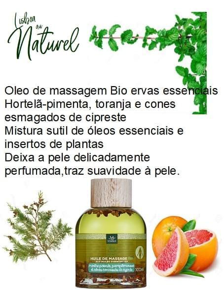 Óleo de massagem bio hortelã-pimenta e toranja, 100 ml