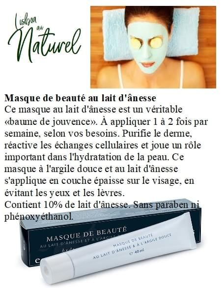Masque de beauté au lait d'ânesse, 40 ml