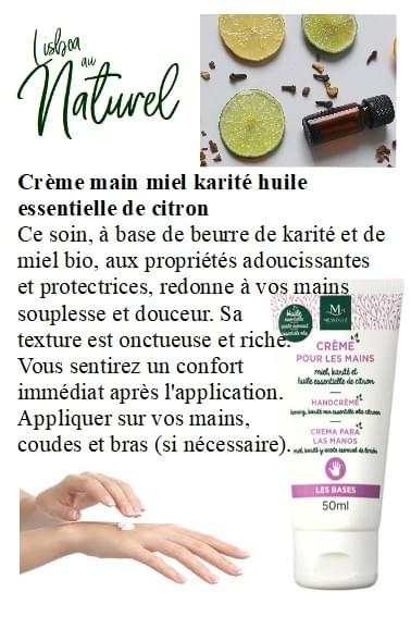 Crème main miel karité huile essentielle de citron, 50 ml