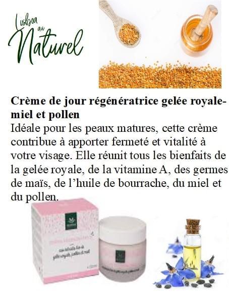 Crème de jour régénératrice gelée royale-miel et pollen bio , 50 ml