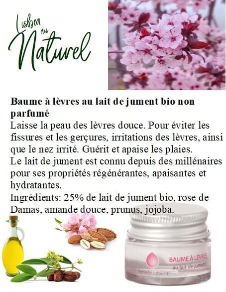 Baume à lèvres au lait de jument bio non parfumé, 7 ml