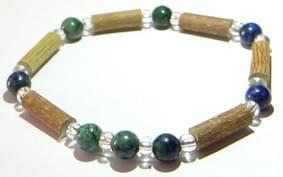 Bois de noisetier 6mm, azurite malachite et perles transparentes