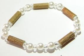 Bois de noisetier 6mm, perles blanches et transparentes,