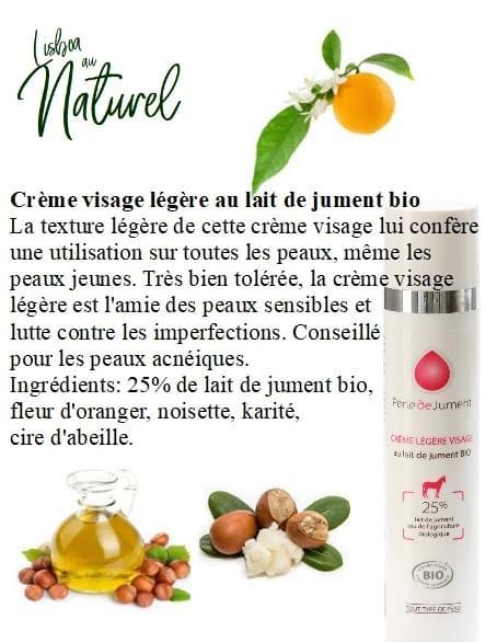 Crème visage légère au lait de jument bio, 50 ml