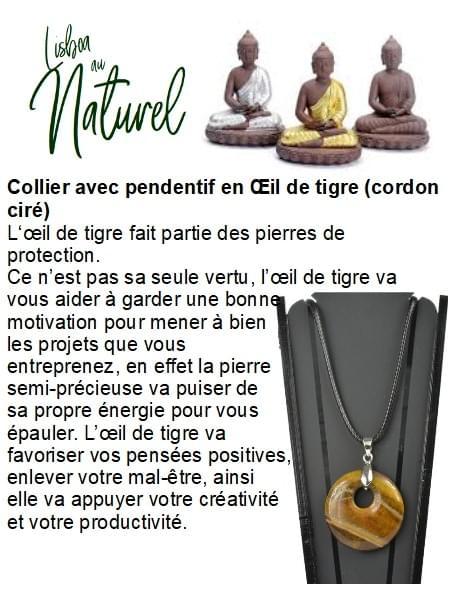 Collier avec pendentif en Œil de tigre (cordon ciré)