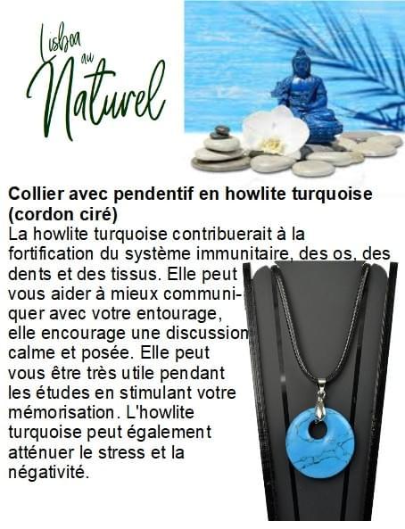 Collier avec pendentif en howlite turquoise (cordon ciré)