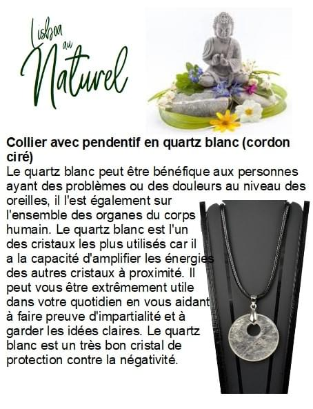 Collier avec pendentif en quartz blanc (cordon ciré)