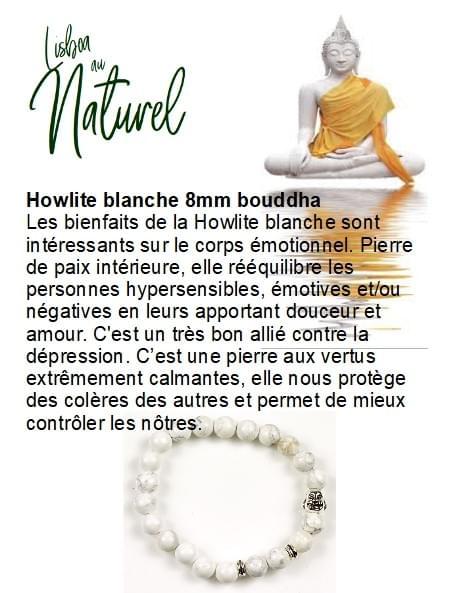 Howlite blanche 8mm (bouddha)