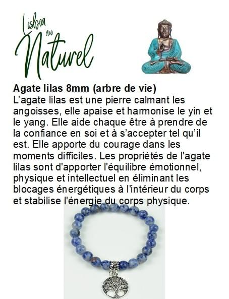 Agate lilas 8mm (arbre de vie)