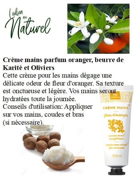 Crème mains parfum oranger, beurre de Karité et oliviers, 30 ml