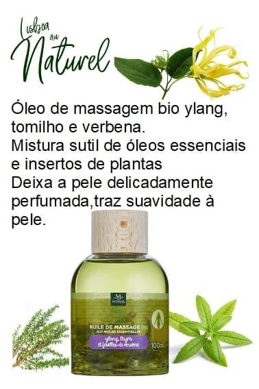 Óleo de massagem bio ylang, tomilho e verbena, 100 ml