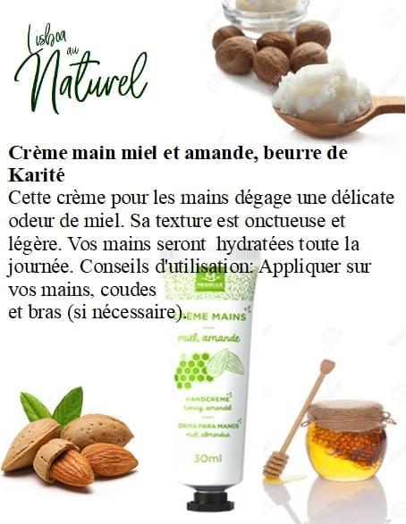 Crème main miel et amande, beurre de Karité , 30 ml