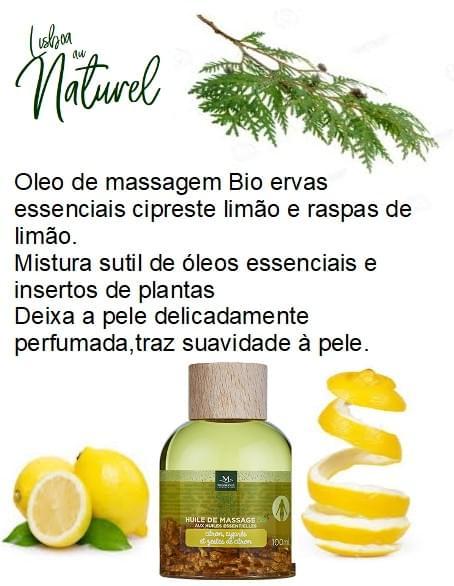 Óleo de massagem bio limão, cipreste e raspas de limão, 100 ml