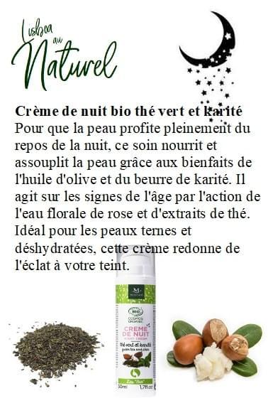 Crème de nuit bio thé vert et karité, 50 ml