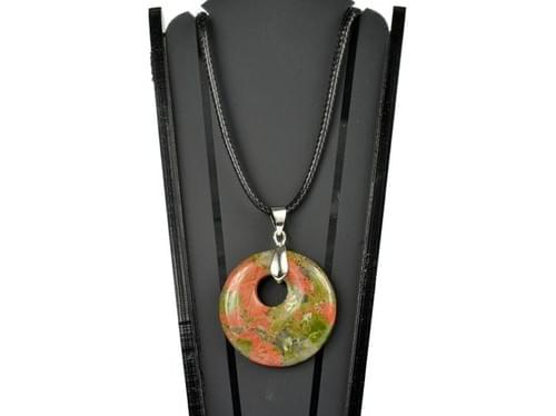 Collier avec pendentif en unakite (cordon ciré)