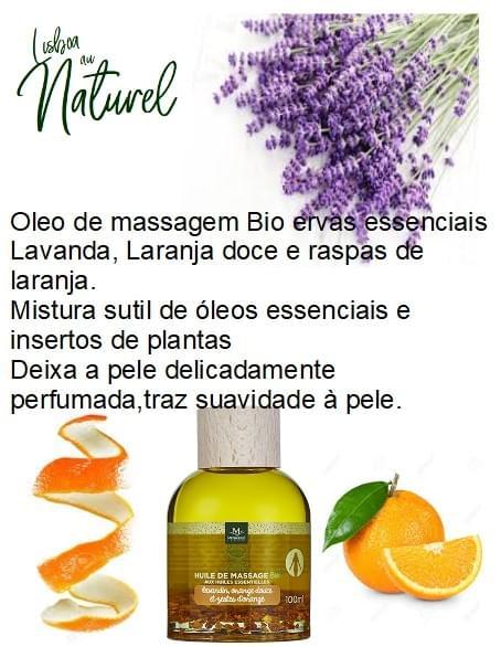 Óleo de massagem bio de lavanda e laranja doce, 100 ml