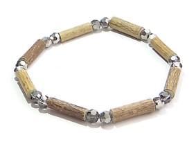 Bois de noisetier 6mm, perles à facettes antracites