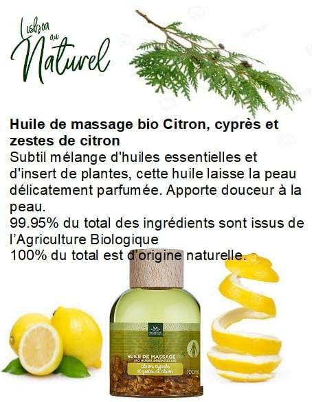 Huile de massage bio citron, cyprès et zestes de citron, 100 ml