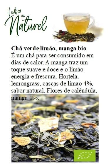 Chá verde limão e manga bio (50gr - 100gr)