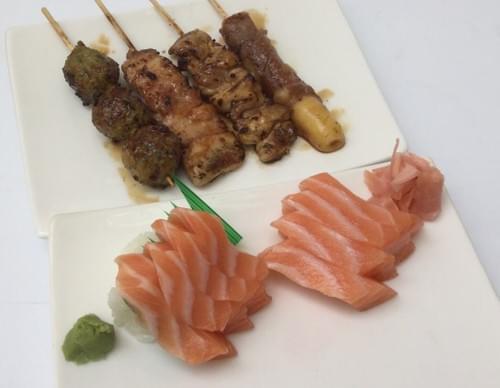Menu D - Sashimi saumon + mix 4 brochettes