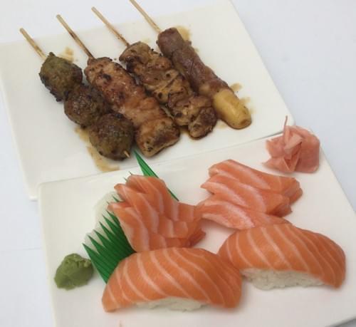 Menu H - Sashimi sushi + mix 4 brochettes