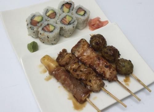 Menu F - California maki avocat/saumon + mix 4 brochettes