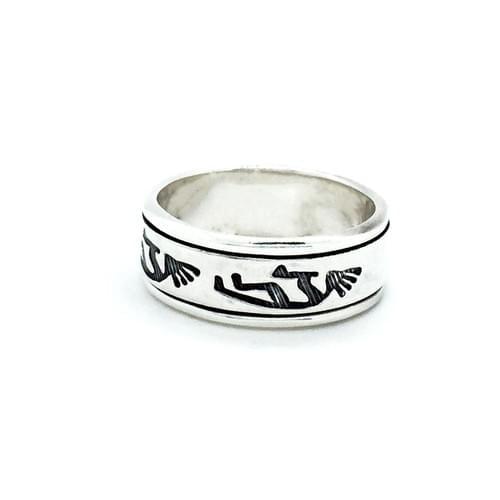 Forgatható sínes gyűrű, kokopelli minta (Cikkszám: 25971)