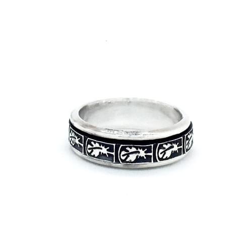 Forgatható sínes gyűrű, antikolt madártoll minta