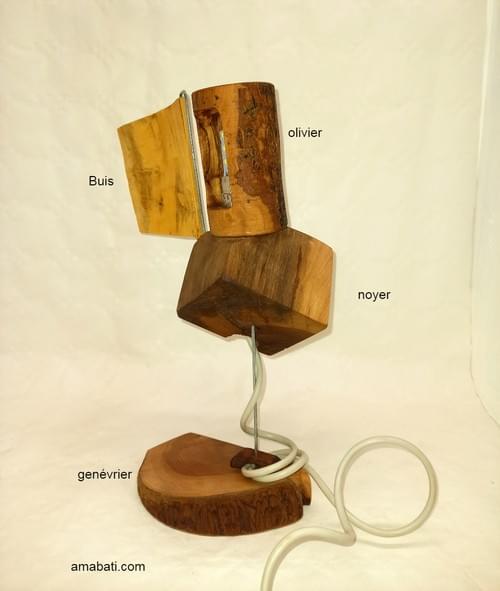 Lampe en bois (câble USB) avec volet rabattable !