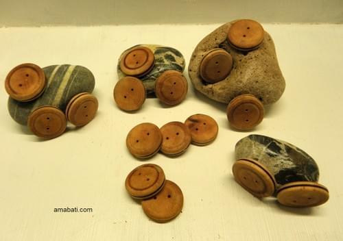 Boutons en bois d' aubépine / prix à l'unité