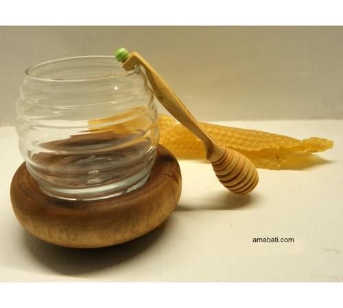 Cuillère à miel en buis - gravée n°15