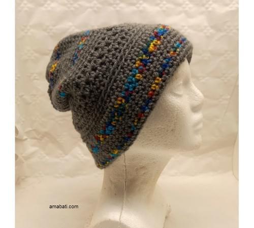 Bonnet gris et multicolore - M