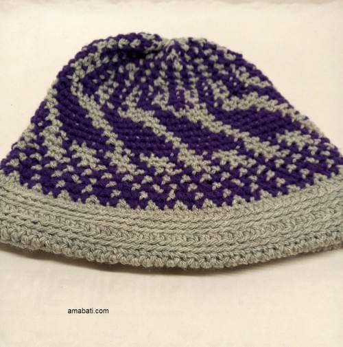 Bonnet mauve et gris - XXL