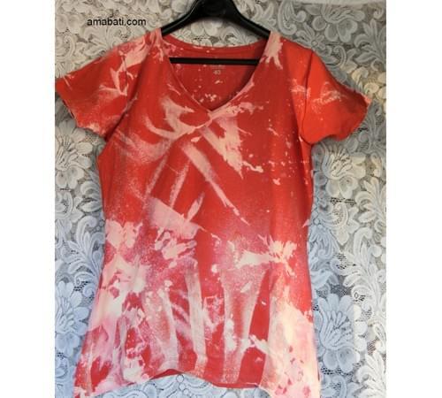 T-shirt orange/blanc - taille 40
